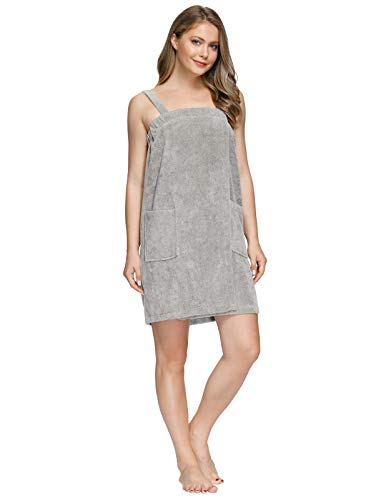 Zexxxy Toalla para mujer, de algodón de bambú, con cierre y bolsillo, vestido de baño y ducha, sarong de sauna, gris XXL