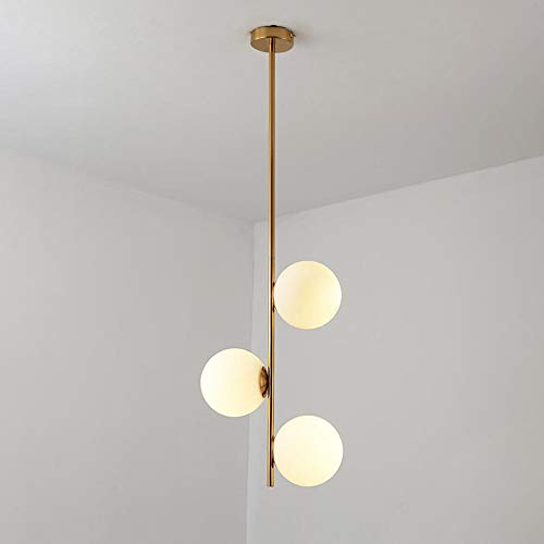 Modern Pendant Light Fixture Simple Chandelier with White Globe Glass Lampshade Ceiling Hanging Lamps for Dining Room Kitchen Living Room Bedroom Lighting Fitting Kits, 3-light