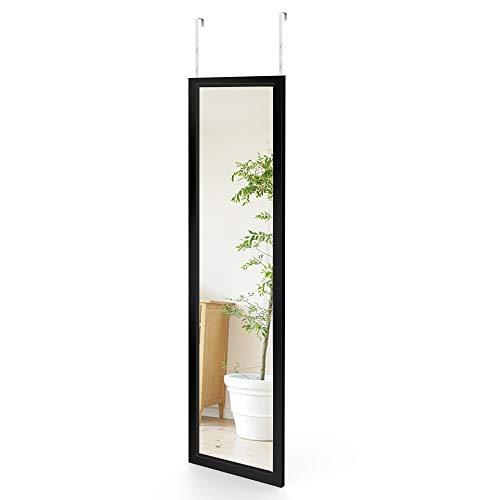 Dripex Wandspiegel 33x119cm Spiegel unbrechbarer Garderobenspiegel Flurspiegel höhenverstellbarer Hängespiegel mit Haken (Schwarz)