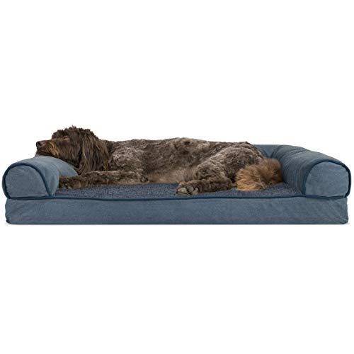 Furhaven Pet Dog Bed - Memory Foam Faux Fleece and Chenille Traditional Sofa-Style Living Room Couch Pet Bed with Removable Cover for Dogs and Cats, Orion Blue, Large