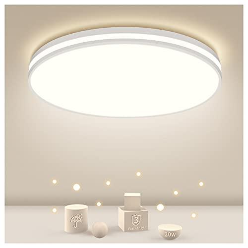 Plafonnier LED 20W, plafonnier salle de bain 4000K lampe blanc naturel, plafonnier LED salle de bain Ø26CM, lampe 1850LM salle de bain salon couloir cuisine balcon, lampe étanche IP44 salle de bain