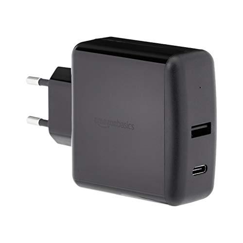 AmazonBasics — cargador de pared de 2 puertos (51W) para portátiles, tabletas y teléfonos, con 1 puerto USB-A y 1 puerto USB-C, con protocolo de carga Power Delivery de 30W, negro