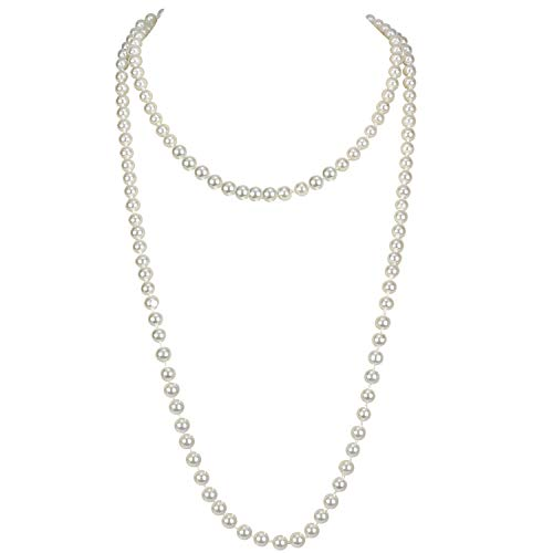 Flapper Pearls 1920s Faux Pearls Pendants Long Fake Pearls Necklace 58″(1piece) for Women Jewelry