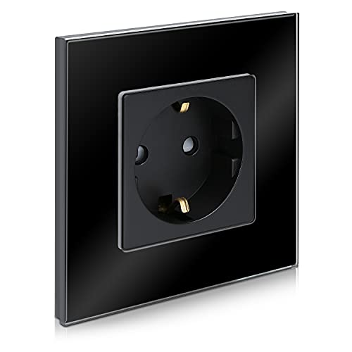 Navaris Enchufe con marco de cristal - Enchufe Schuko tipo F para empotrar - Placa de vidrio empotrable en pared con diseño elegante - Negro