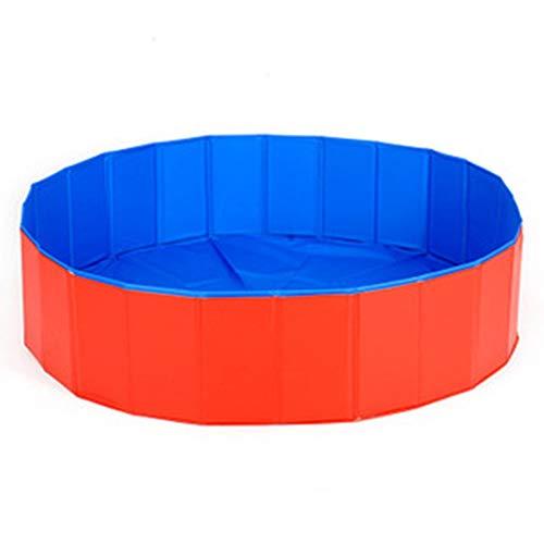 SSH Faltbarer Hunde Pool, rutschfest, Verschleißfest Katzenpool Für Katze Hündchen [Rot/Blau-30 cm (Durchmesser) x 10 cm (H)]