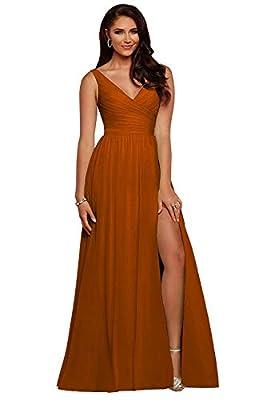yinyyinhs Slit Bridesmaid Dresses Long V Neck Chiffon Pleated Evening Prom Dress Burnt Orange Size 10