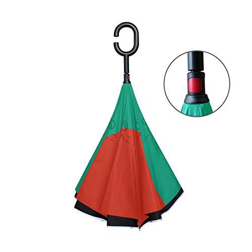 FANTAZIO Regenschirm, umgekehrt, Flagge von bulgarischen Doppellagig, UV-Schutz, Umkehr-Regenschirm, selbststehend, C-förmiger Griff, innen nach außen, faltbar, Winddicht und wasserabweisend