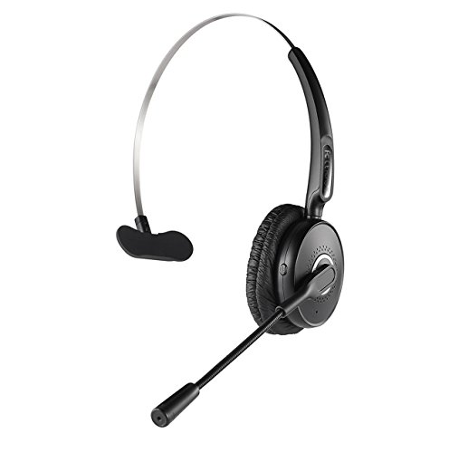 Bluetooth Headset, Noise Canceling Wireless Bluetooth Headset with Dual Microphone for Truck Driver, Over The Head Earpiece, On Ear Car Bluetooth Headphones with 20 Hours Talk Time for Cell Phone