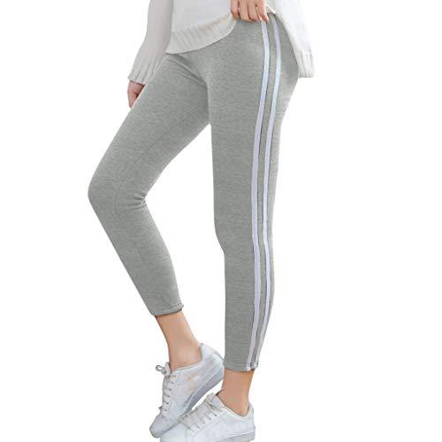 OPALLEY Leggings Damen Laufhose Luftdurchlässige Trainingshose Sporthose Yogahose Fitness Yoga High Waist Lang Streifen