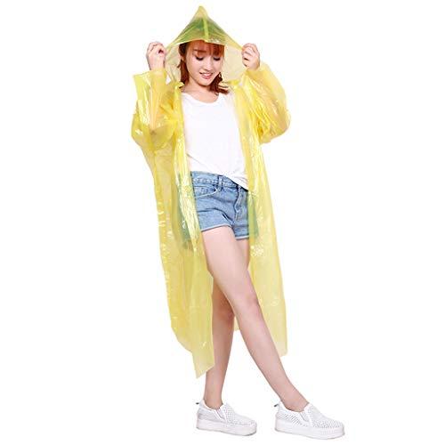 LQY Einweg-Regenmantel, Outdoor-Regenponcho, 2er-Set, Unisex, tragbar, Langer Abschnitt für Erwachsene zum Wandern, Reiten und Reisen,Yellow