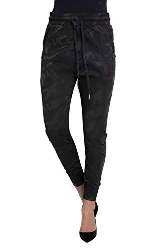 Zhrill Damen Joggpant Stoffhose Anzugshose Tapered Cropped Slim Fit Fabia, Größe:XS, Farbe:N9305 - Black