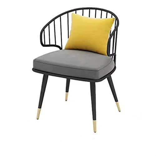 YYQQ Silla Silla Trasera cómoda nórdica Creativa Leche DE Tea DE Tea DE LA Silla DE Oro para LA Silla para LA Comida DE LA Familia Ocio Mobiliario sillón (Color : B Black 60x55x72cm)