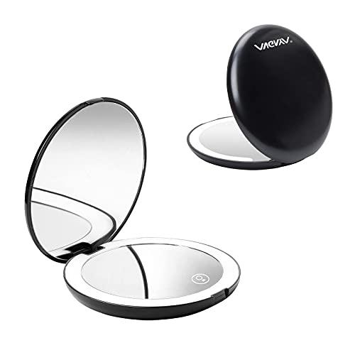 Espejo para Maquillarse, Espejo de Bolsillo Compacto Iluminado LED, Espejo de Maquillaje Portátil, Espejo de Mano de Aumento 1X / 10X, ,Espejo de Viaje Espejos Pequeños para Mujeres Regalo