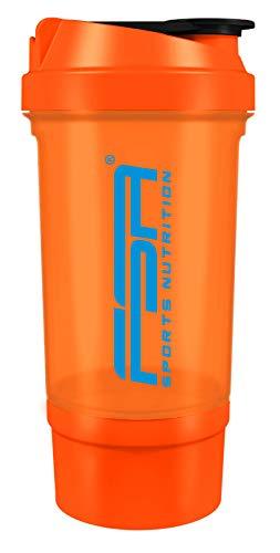 FSA Nutrition - Coctelera de proteínas con compartimento de polvo para batidos cremosos con colador y recipiente, libre de BPA y antigoteo, color naranja