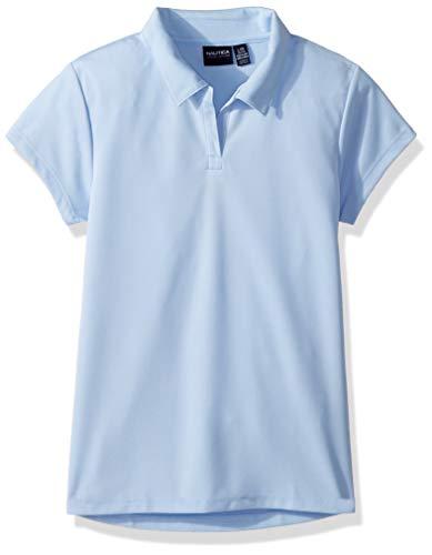 Nautica Mädchen Schuluniform, kurzärmlig, Performance Polo - Blau - X-Large