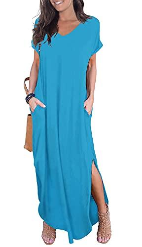 GRECERELLE Women's Casual Loose Pocket Long Dress Short Sleeve Split Maxi Dress Nile Blue Medium