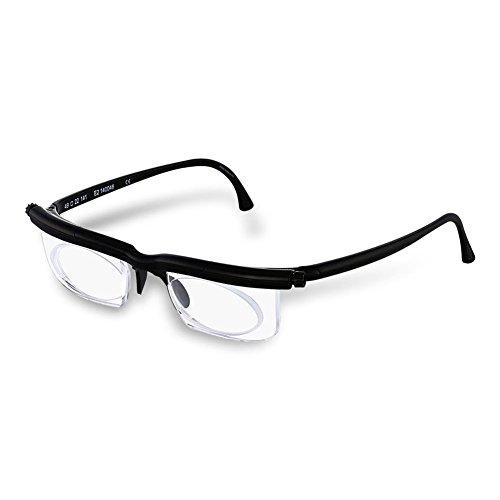 HC Handel 936186 Adlens-Brille mit individuell einstellbaren Gläsern von -6 bis +3 Dioptrien - schwarz