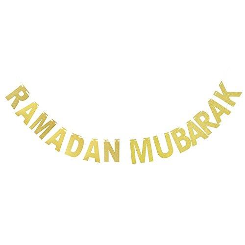 Morningtime Ramadan Mubarak Gouden alfabet Deco Wimpel Decoratie Hangende Banner voor bruiloft Party Decoratie Huis slinger ornamenten moslim Eid al-Fitr