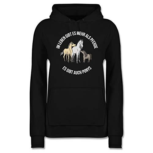 Pferde - Im Leben gibt es mehr als Pferde - M - Schwarz - Pferde mädchen - JH001F - Damen Hoodie und Kapuzenpullover für Frauen