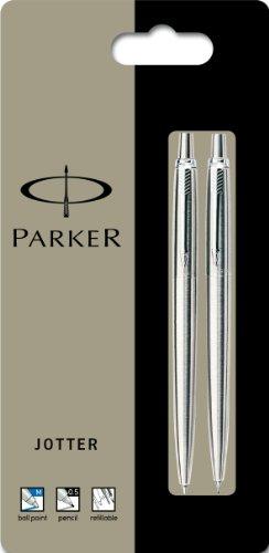 Parker Jotter - Bolígrafo de punta de bola con caja y lápiz portaminas (acero inoxidable, adornos en cromo)