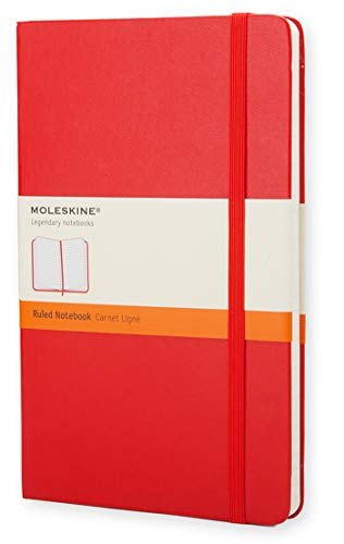 Moleskine Classic Notebook, Hard Cover, Large (5' x 8.25') Ruled/Lined, Scarlet Red