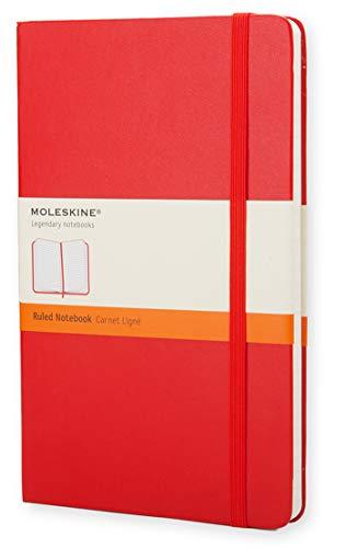 Moleskine - Cuaderno Clásico con Hojas Rayadas, Tapa Dura y Cierre Elástico, Color Rojo Escarlata, Tamaño Grande 13 x 21 cm, 240 Hojas