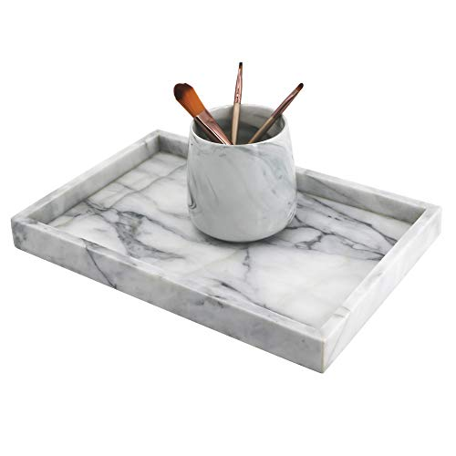 LUANT Marble Stone Decorative Tray for Counter, Vanity, Dresser, nightstand or Desk