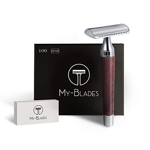 My-Blades® der 2in1 Rasierhobel aus Holz mit 100x Premium Rasierklingen (80% Recycelt) im Set - offener und geschlossener Kamm