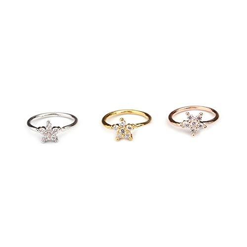ZYQXB - 1 pieza de color dorado para la nariz, aro para la nariz, anillo de cristal pequeño con circonita, estrella, hélix, Knorpel Tragus (piedra principal: oro rosa, color del metal: flor)