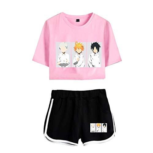 The Promised Neverland Tshirt Trajes Cosplay para Mujeres Niñas, Emma Norman Ray Printed Summer Sexy Streetwear Sportswear Pijamas