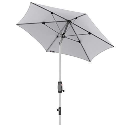 Knirps Sonnenschirm Automatic - Runder Kurbelschirm - Modernes Design - Starker UV-Schutz - 220 cm - Hellgrau