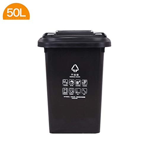 New LXF Outdoor Waste Bins Trash can Outdoor Sanitation Trash can with Pulley Black Wheelie bin (Col...