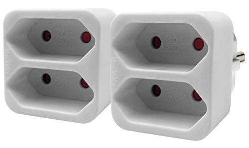 revolt Doppelsteckdose: Steckdosen-Adapter auf 2-fach-Euro-Steckdose, 2er-Set, weiß (Eurostecker)