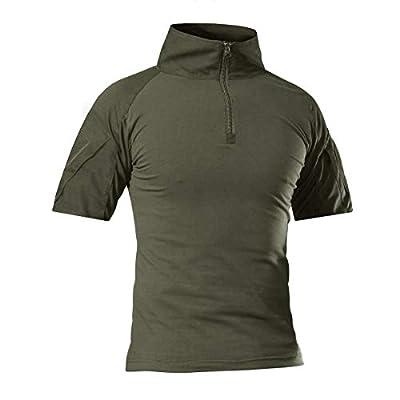 CRYSULLY Men's Summer 1/4 Zip Military Shirt Rapid Hiking Short Sleeve Shirts Trekking Shirt Army Green