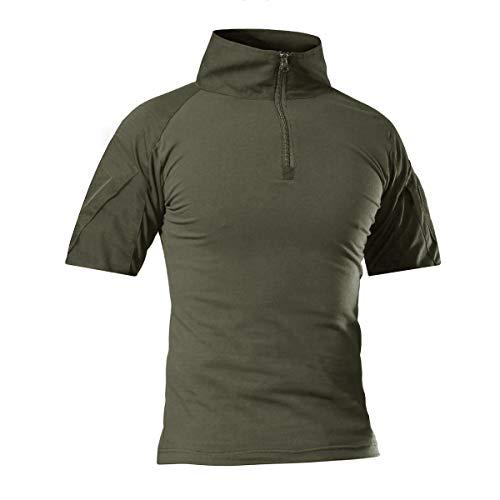 CRYSULLY camisa de manga larga táctica militar para hombre de corte ajustado, camisa de camuflaje para senderismo al aire libre - - X-Large