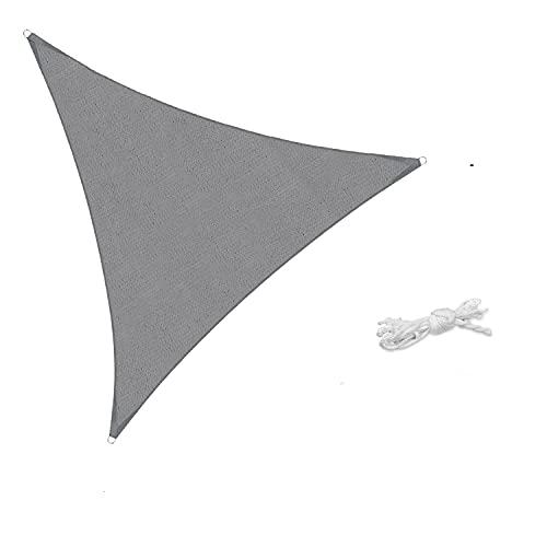Sekey Sonnensegel Sonnenschutz Dreieckiges HDPE Durchlässig Atmungsaktiv Tear Resistant Wetterschutz UV-Schutz, für Outdoor Garten Terrasse, mit Seilen Hellgrau 3×3×3m