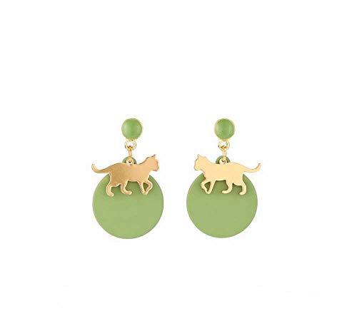 YTM Women's Drop Dangle Earring Cat earrings sterling silver needle matcha brown earrings girl sweet cute earrings