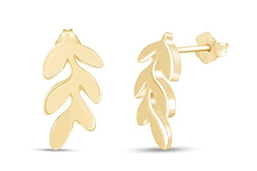 Holiday Sale - Orecchini a perno in argento Sterling 925 con foglie minimali per donne e ragazze (oro 18 kt su argento sterling) e Argento placcato oro rosa 18 ct, colore: Rosa, cod. UK-M-LEAF-RSL
