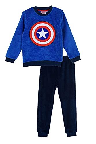 Ryfi Pijama Polar de Manga Larga para niños Capitán América (10 años)