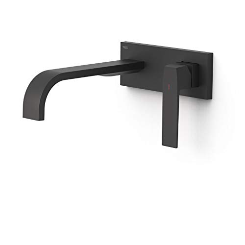 Grifo monomando empotrado para lavabo, gama Slim-Exclusive, con amortiguadores acústicos y caño de 240 milímetros, 31,4 x 19,4 x 7,4 centímetros, acabado negro mate (referencia: 20230014NM)