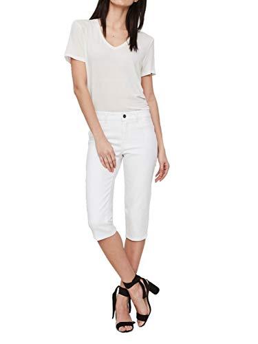 Vero Moda NOS Damen Hose VMHOT SEVEN NW DNM SLIT KNICKER MIX NOOS, Weiß (Bright White), W(Herstellergröße: S)