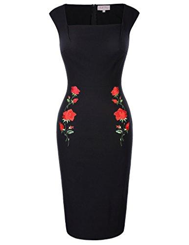 Retro Vintage Cap Sleeve Square Neck Dress Black Bodycon Pencil Dress S BP328-1