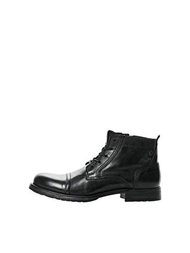 JACK & JONES JFWRUSSEL Mid Leather Anthracite, Botas Cortas al Tobillo Hombre, Antracita, 44 EU