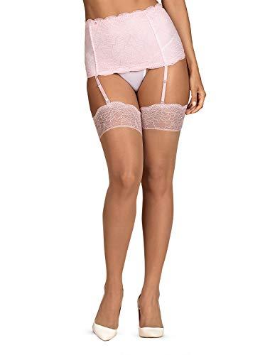 Selente Lovely Legs Seducenti Calze per Reggicalze con Dettagli in Pizzo, racchiuse in un'elegante Confezione Regalo, Made in EU (XXL, Rosa Pallido)