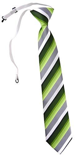 TigerTie Kinderkrawatte in grün dunkelgrün grau weiss gestreift - Krawatte vorgebunden mit Gummizug