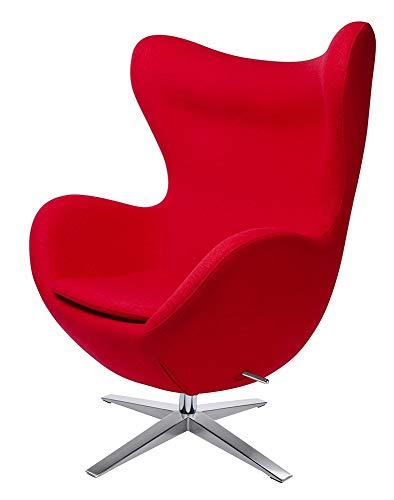 furnigo | Designer Sessel in Ei Form, Reproduktion, Zeitlos, Viele Farben, Wollstoff (Rot)