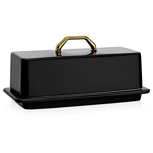 Sweese 327112 Butter Dish with Lid for Countertop  Butter Dish with Gold Handle Butter Dishes with Covers for 4oz East West Coast Butter  Dishwasher Safe Black