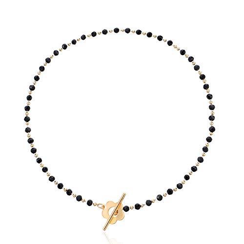 Collana di perle di cristallo nero Clavicola Collana di girocollo di perle con fibbia a fiore corto per donne Ragazze Regali di gioielli di compleanno anniversario femminile bohemien