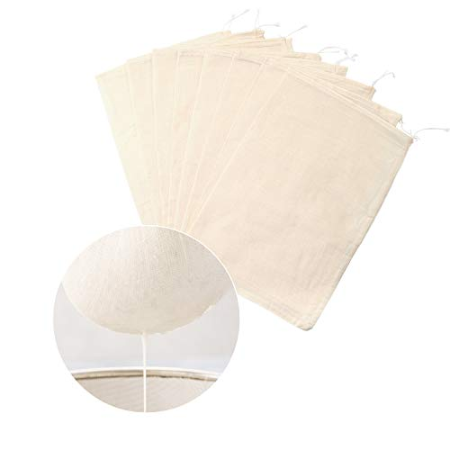 Aneco 8 Pieces Cheesecloth Bags Cotton Reusable Nut Milk Bag for Cold Brew Coffee Tea Beer Juice Wine Supplies(11.8 x 7.8 inch)