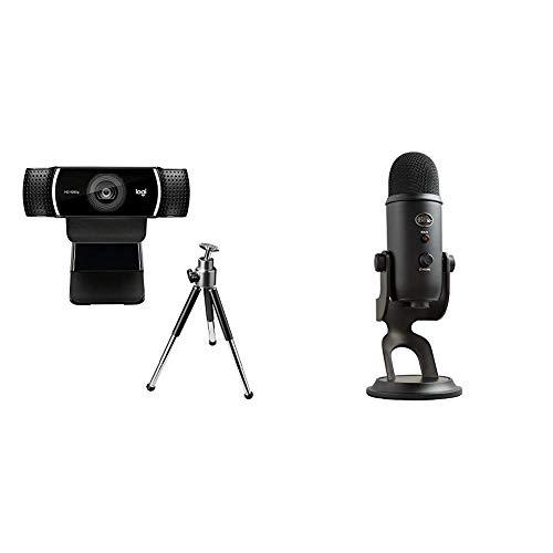 Logitech C922 Pro Stream Webcam, streaming en Full HD 1080p con trípode y licencia gratuita de 3 meses para XSplit - Negro y Blue Yeti Micrófono para ordenador, Negro